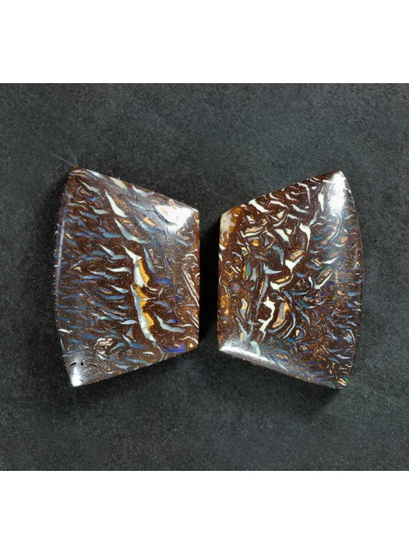 Boulder Yowah Opal - pair - 28x19mm