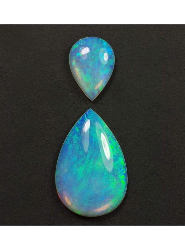 Pár nádherných drahých opálů 12x8mm, 7x5mm