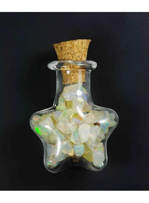 Lahvička ve tvaru srdce s etiopskými opály